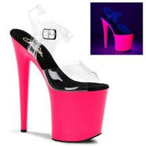 "Pleaser FLAM808UV/C/NP Uv Neon Hot Pink Platform 8"" Heels Stripper Dancer Shoes - $61.95"