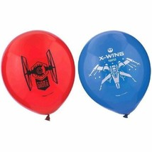 "Star Wars The Force Awakens VII 6 Ct 12"" Latex Printed Balloons Red Blue - $3.49"