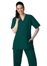 Hunter Green Scrub Set L V Neck Top Drawstring Pants Uniforms 2 Pc Ladie... - $34.89