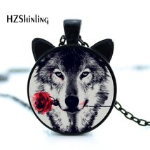 CN-00785 2017 black painting Wolf With rose Flower Necklace cameo animal metal P - $8.04