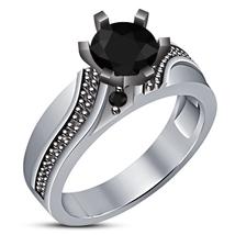 Vintage 14K Solid White Gold Finish 925 Silver Black Lab Diamond Engagement Ring image 1
