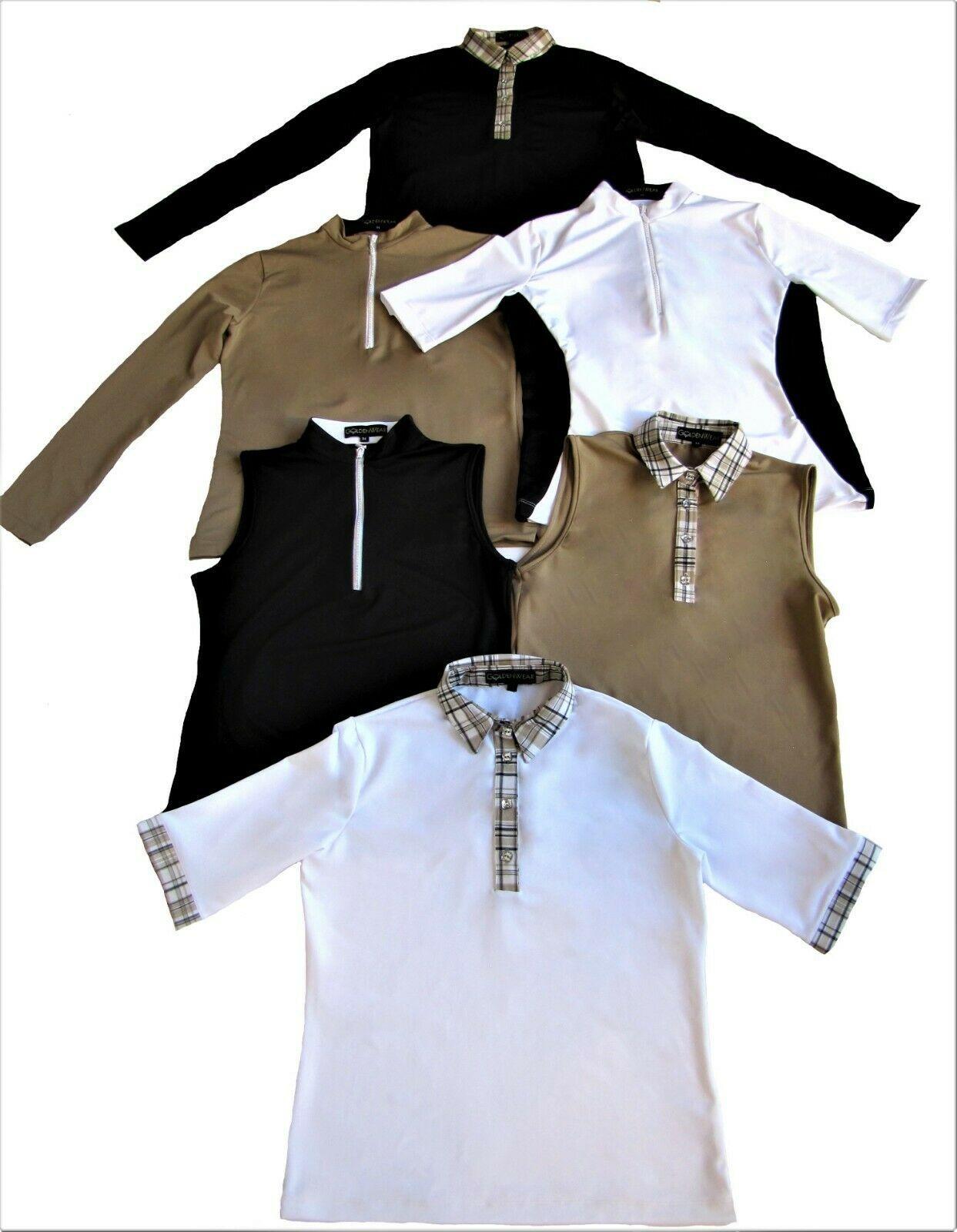 Stylish Women's Golf & Casual Tan Short Sleeve Mock Polo, Rhinestone Zipper  image 2