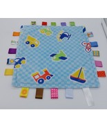 Taggies Blue Security Blanket Baby Lovey Vehicles Car Train Boat Plane T... - $16.82