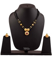 Womens Trendz Fancy Saaj Ghat Manchali24K Gold Plated Alloy Mangalsutra and Earr - $37.00