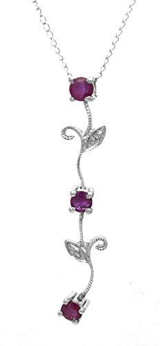 AFJewels 10k White Gold Genuine Ruby and Diamond accent Floral Pendant