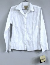 WOOLRICH Womens S White Crinkle Blouse Top LSleeves Cotton Blend Stretch... - $24.00