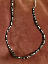 "Vintage Black and Gray Hematite Bead Necklace Unisex Jewelry 18"" Strand Fashion - $15.00"