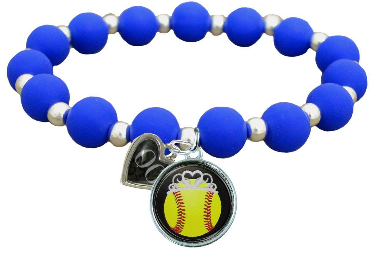 Primary image for Custom Softball Princess Silicone Stretch Bracelet Choose Number Team Color 0-25