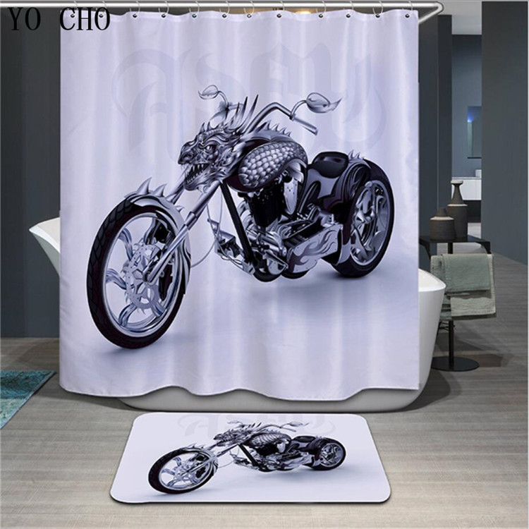 Primary image for Motorycicle Shower Curtain Waterproof Polyester Fabric & Bath Mat For Bathr