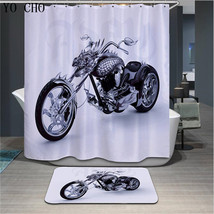 Motorycicle Shower Curtain Waterproof Polyester Fabric & Bath Mat For Bathr - $15.30+