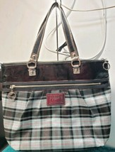 COACH Poppy Tartan Plaid Glam Tote 15886 Blue Black Orange Large - $79.20