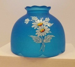 Vtg Westmoreland Blue Frosted Satin Glass Painted Daisy Flower Fairy Lamp Shade - $24.70