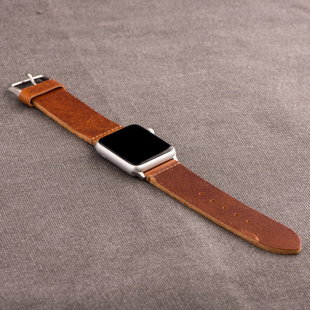 Clockwork Synergy - Watch Bands for Apple Watch (42mm Worn Light Brown Leathe...