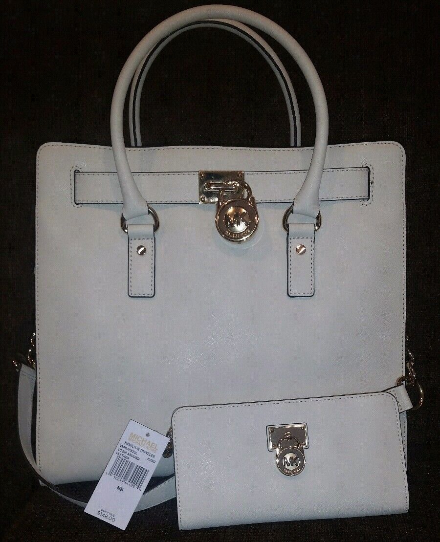 11381600731c MICHAEL KORS HAMILTON LARGE ECRU BEIGE TOTE BAG & MATCHING WALLET SET $506  NWT!