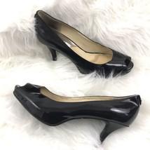 Michael Kors Womens Size 6 Black Patent Leather Heels Peep Toe Platform ... - $18.80