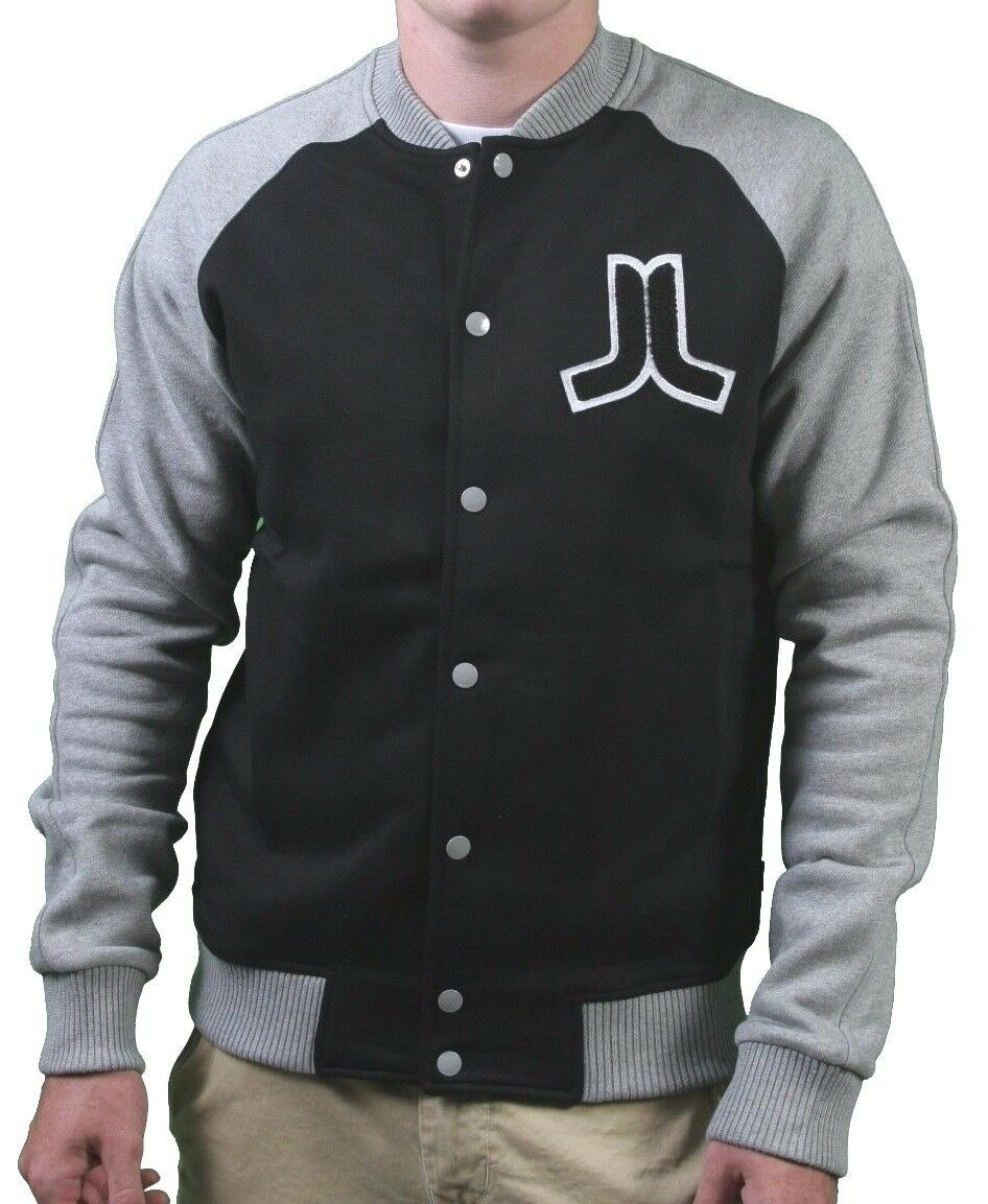 WeSC Balker Black Raglan Fleece Button Baseball Sweater Jacket Large NWT