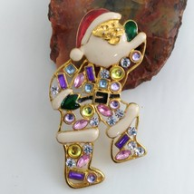 Santa Brooch Gold Tone with Multi-Colored Rhinestones image 2