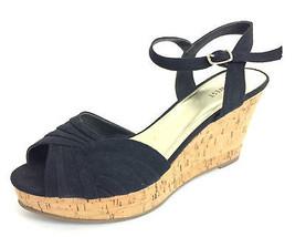 8 Nine West Black 'IMLOVINILI' Peep Toe Cork Platform Sandals Buckle at Ankle - $37.62