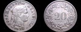 1920 Swiss 20 Rappen World Coin - Switzerland - $7.99