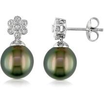 9.5-10mm Black Drop Tahitian Pearl and Diamond-... - $158.60