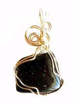 Dark green Goldstone wire wrapped Pendant 14 K gold filled wire - $24.75