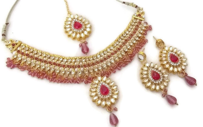Indian Ethnic GoldPlated Kundan Fuchsia Fashion Bridal Jewellery NecklaceSet - $13.70