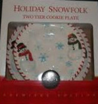 The Holiday Snowfolk Two Tier Cookie Plate Ceramic Christmas Collectible... - $19.99