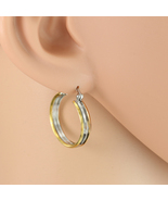 Chic Polished Tri-Color Silver, Gold & Rose Tone Hoop Earrings- United E... - $12.99