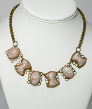 Copper Collar w Confetti Cabochons Vintage Casual Honeymoon Necklace Party Prom  - $34.95