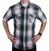 Levi's Men's Cotton Casual Button Up Short Sleeve Shirt Plaid Teal 3LYLW6082