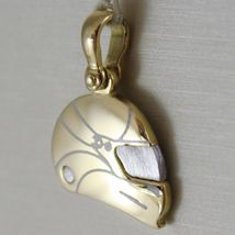 SOLID 18K WHITE & YELLOW MOTOR RACING HELMET, SATIN PENDANT CHARM MADE IN ITALY image 3