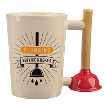 Plunger Plumber Mug Tea Cup Coffee Builder Builders Shaped Handle Plumbe... - $17.47