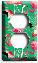 PINK FLAMINGO TROPICAL PALM LEAVES PATTERN OUTLET WALL PLATES ROOM BEDRO... - $9.99