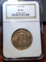 1936 Walking Liberty Half MS 64 NGC          11380-65 - $124.95