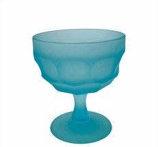 Westmoreland Glass Goblet Blue Beaded Edge Elegant wine drinking cup Chalice vtg - $38.65