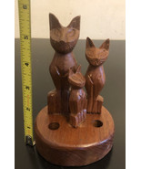 Vintage Pen&pencil HoldeR Hand Carved Wood Figurine Family of 3 Cats Kit... - $29.70