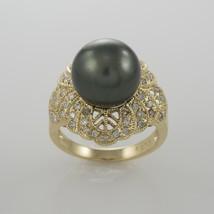 14k Yellow Gold Ladies 12mm Tahitian Pearl Ring with 0.50tdw Diamonds - ... - $895.00
