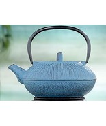 CAST IRON TEA POT WORLD MARKET WITH INFUSER COLOR-AQUA 27 OZ. CAPACITY NEW - £35.76 GBP