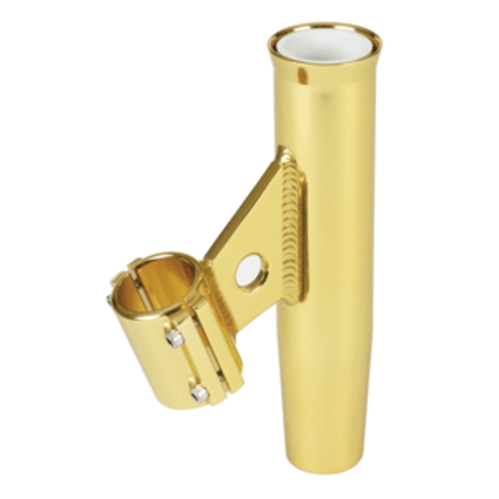Lees Clamp-On Rod Holder - Gold Aluminum - Vertical Mount - Fits 1.315 O.D. Pipe