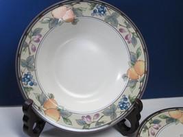 "6 Garden Harvest Mikasa Rimmed Soup Bowl  Intaglio CAC29 Fruit 9 3/4""  - $28.71"