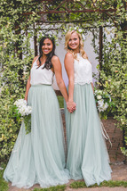 SAGE GREEN Long Maxi Tulle Skirt Full Length Sage Green Wedding Bridesmaid Skirt image 1