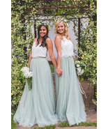 SAGE GREEN Long Maxi Tulle Skirt Full Length Sage Green Wedding Bridesma... - $49.99