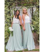 SAGE GREEN Long Maxi Tulle Skirt Full Length Sage Green Wedding Bridesma... - $58.50+