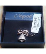 Napoli Holiday Christmas Articulating Silver Bell CZ Brooch Pin Box - $29.68