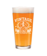 16 oz Beer Pint Glass Vintage Aged To Perfection 1978 40th Birthday - $12.86