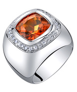 Men's Sterling Silver 7.50 Carats Created Padparadscha Sapphire Ring  - $170.99