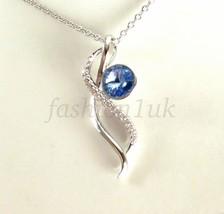 Mujer Niña Azul Elemento Swarovski Gargantilla Bañado En Oro Blanco 41+5 cm - $21.42