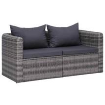 vidaXL 2x Garden Corner Sofas Gray Poly Rattan Outdoor Single Sofa Loung... - $175.99