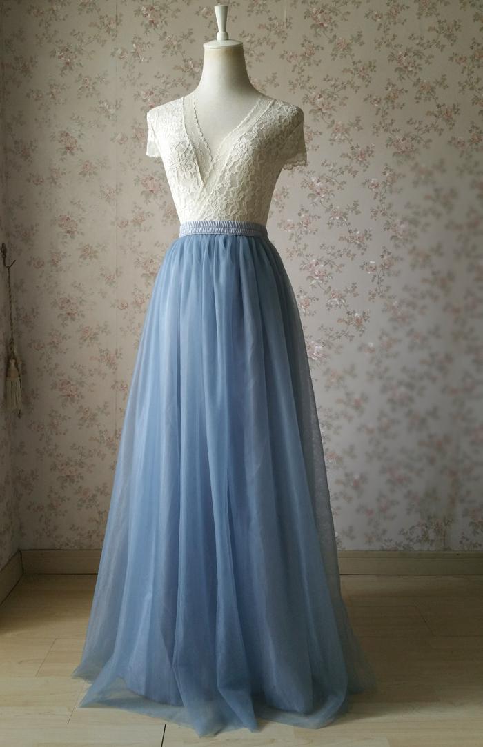 Dusty blue tulle skirt wedding 03