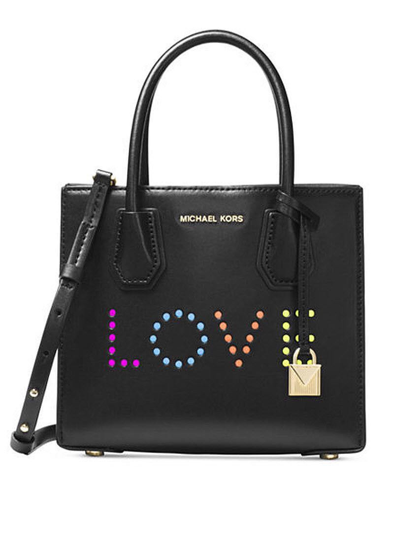 4508ed02745e 57. 57. Previous. Michael Kors Mercer Medium Messenger Love Leather bag  purse BLACK NWT